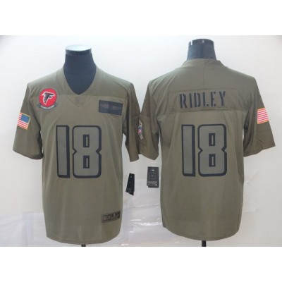 Nike Falcons 18 Calvin Ridley Olive 2019 Salute To Service Limited Men Jersey