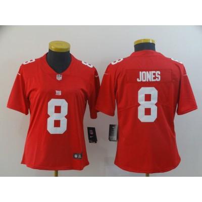 Nike Giants 8 Daniel Jones Red Inverted Legend Limited Women Jersey