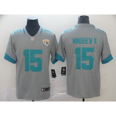Nike Jaguars 15 Gardner Minshew II Grey Inverted Legend Limited Men Jersey
