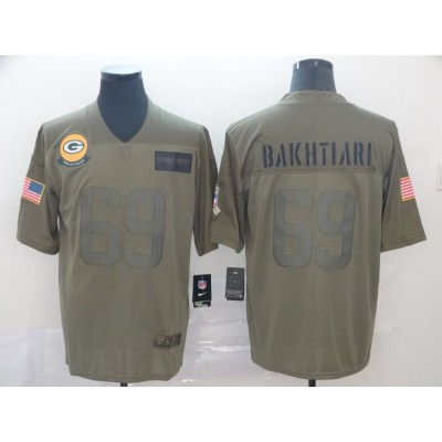 Nike Packers 69 David Bakhtiari Olive 2019 Salute To Service Limited Men Jersey
