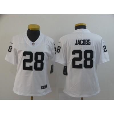 Nike Raiders 28 Josh Jacobs White Vapor Untouchable Limited Women Jersey