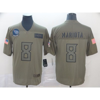 Nike Titans 8 Marcus Mariota Olive 2019 Salute To Service Limited Men Jersey
