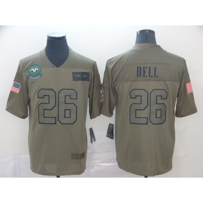 Nike Jets 26 Le'Veon Bell 2019 Olive Salute To Service Limited Men Jersey