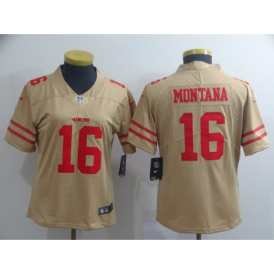Nike 49ers 16 Joe Montana Gold Inverted Legend Women Jersey