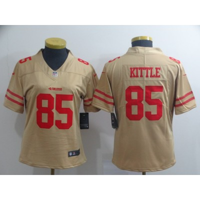 Nike 49ers 85 George Kittle Gold Inverted Legend Women Jersey