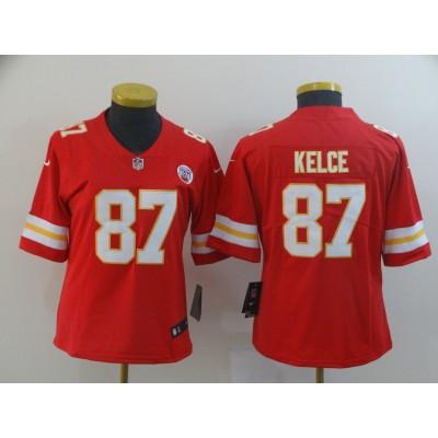 Nike Chiefs 87 Travis Kelce Red Vapor Untouchable Limited Women Jersey