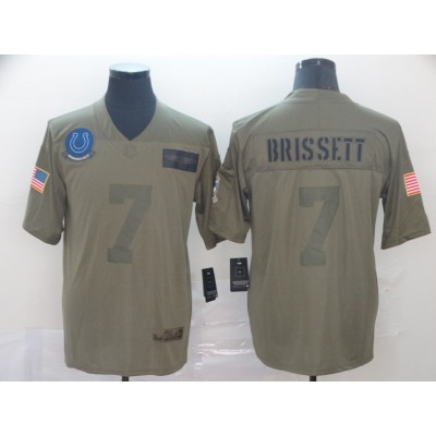 Nike Colts 7 Jacoby Brissett Olive 2019 Salute To Service Limited Men Jersey
