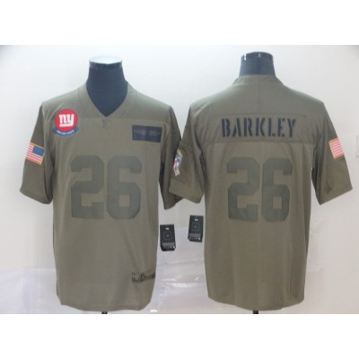 Nike Giants 26 Saquon Barkley Olive 2019 Salute To Service Limited Men Jersey