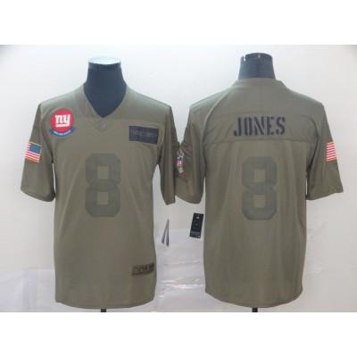 Nike Giants 8 Daniel Jones Olive 2019 Salute To Service Limited Men Jersey