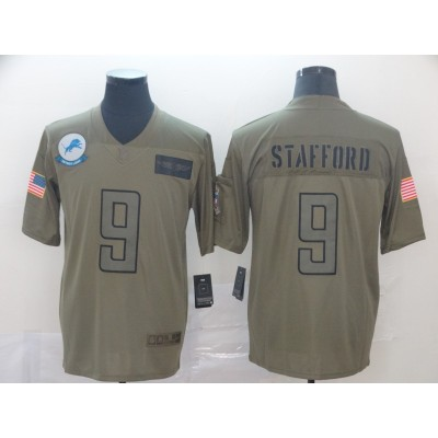 Nike Lions 9 Matthew Stafford Olive 2019 Salute To Service Limited Men Jersey