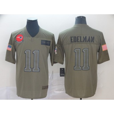 Nike Patriots 11 Julian Edelman Olive 2019 Salute To Service Limited Men Jersey