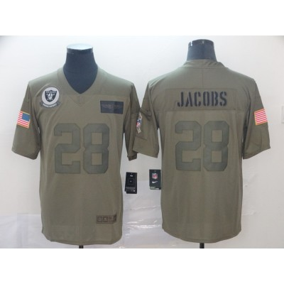 Nike Raiders 28 Josh Jacobs Olive 2019 Salute To Service Limited Men Jersey