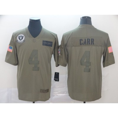 Nike Raiders 4 Derek Carr  Olive 2019 Salute To Service Limited Men Jersey