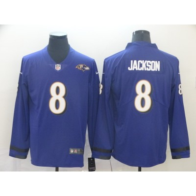 Nike Ravens 8 Lamar Jackson Purple Therma Long Sleeve Jersey