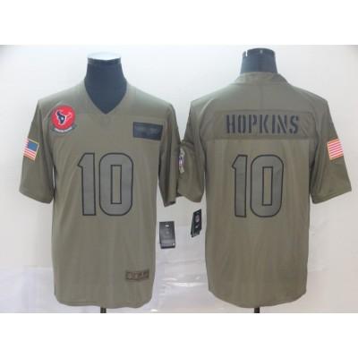 Nike Texans 10 DeAndre Hopkin Olive 2019 Salute To Service Limited Men Jersey