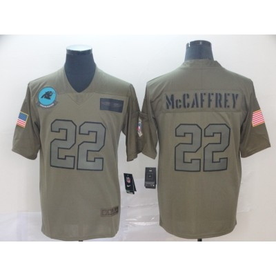 Nike Panthers 22 Christian McCaffrey 2019 Olive Salute To Service Limited Men Jersey