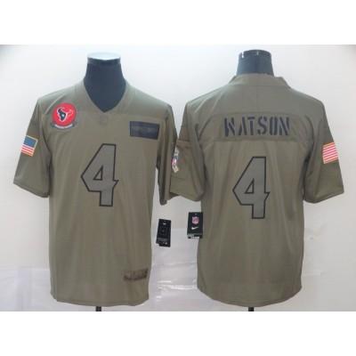 Nike Texans 4 Deshaun Watson 2019 Olive Salute To Service Limited Men Jersey