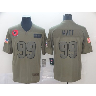 Nike Texans 99 J.J. Watt 2019 Olive Salute To Service Limited Men Jersey