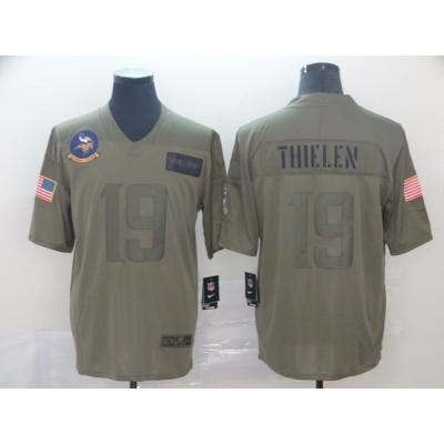 Nike Vikings 19 Adam Thielen 2019 Olive Salute To Service Limited Men Jersey