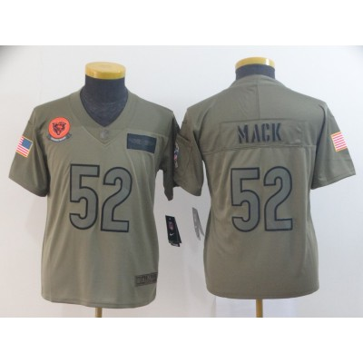 Nike Bears 52 Khalil Mack 2019 Olive Salute To Service Limited Youth Jersey
