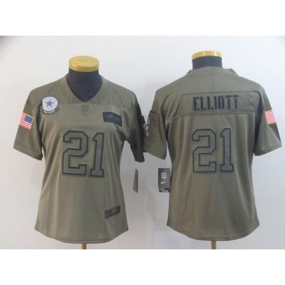 Nike Cowboys 21 Ezekiel Elliott 2019 Olive Salute To Service Limited Women Jersey