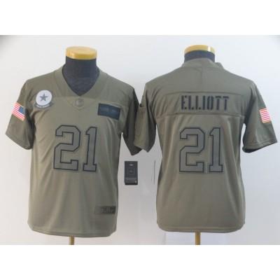 Nike Cowboys 21 Ezekiel Elliott 2019 Olive Salute To Service Limited Youth Jersey