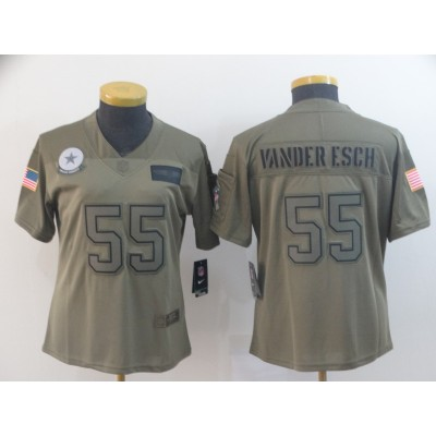 Nike Cowboys 55 Leighton Vander Esch 2019 Olive Salute To Service Limited Women Jersey