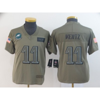 Nike Eagles 11 Carson Wentz 2019 Olive Salute To Service Limited Youth Jersey