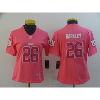 Nike Giants 26 Saquon Barkley Pink Women Jersey