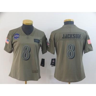 Nike Ravens 8 Lamar Jackson 2019 Olive Salute To Service Limited Women Jersey