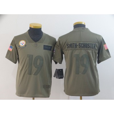 Nike Steelers 19 JuJu Smith-Schuster 2019 Olive Salute To Service Limited Youth Jersey