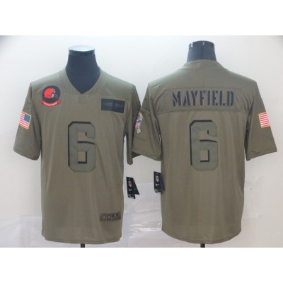 Nike Browns 6 Baker Mayfield 2019 Olive Salute To Service Limited Men Jersey