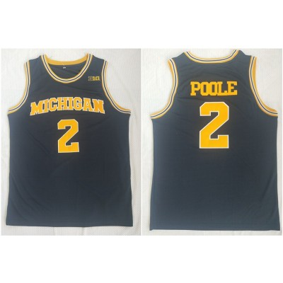 NCAA University of Michigan 2 Myb Poole Navy College Basketball Men Jersey