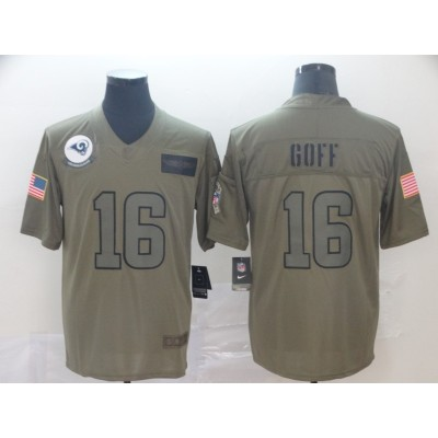 Nike Rams 16 Jared Goff 2019 Olive Salute To Service Limited Men Jersey