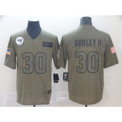 Nike Rams 30 Todd Gurley II 2019 Olive Salute To Service Limited Men Jersey