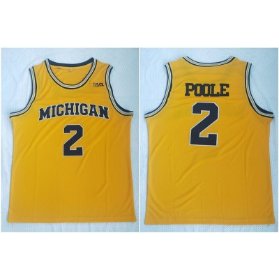 NCAA University of Michigan 2 Myb Poole Yellow College Basketball Men Jersey