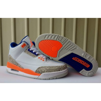 Air Jordan 3 White Blue Orange Shoes