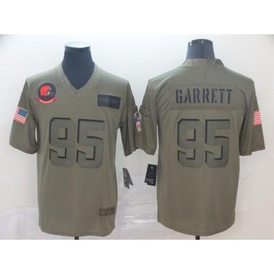 Nike Browns 95 Myles Garrett 2019 Olive Salute to Service Limited Men Jersey