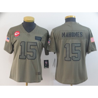 Nike Chiefs 15 Patrick Mahomes 2019 Olive Salute To Service Limited Women Jersey
