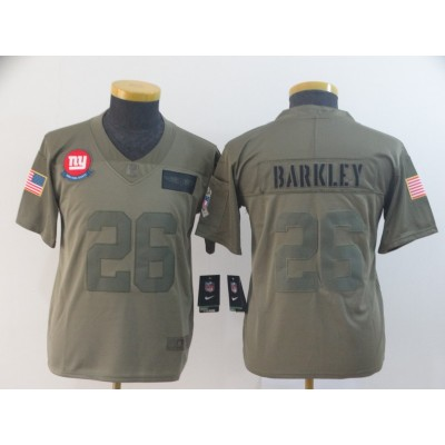 Nike Giants 26 Saquon Barkley Olive 2019 Salute To Service Limited Youth Jersey
