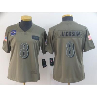 Nike Giants 8 Daniel Jones Olive 2019 Salute To Service Limited Women Jersey