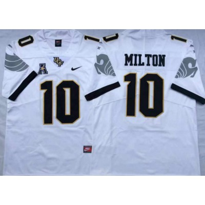NCAA UCF Knights 10 Mckenzie Milton White College Football Men Jersey
