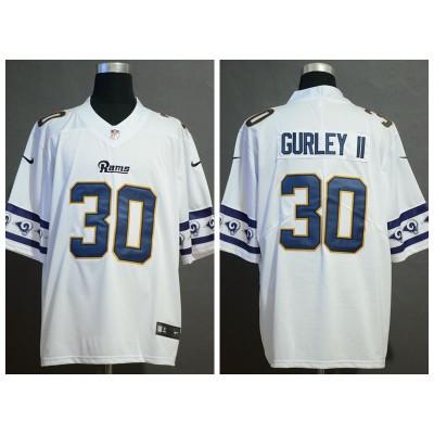 Nike Rams 30 Todd Gurley II White 2019 Team Logos Fashion Vapor Limited Men Jersey