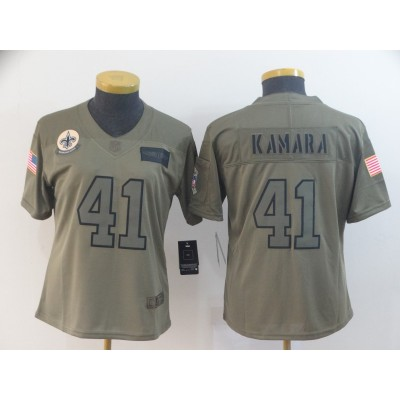Nike Saints 41 Alvin Kamara 2019 Olive Salute To Service Limited Women Jersey