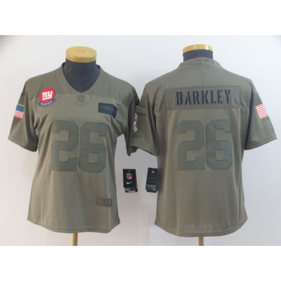 Nike Giants 26 Saquon Barkley 2019 Olive Salute To Service Limited Women Jersey(Run Small)
