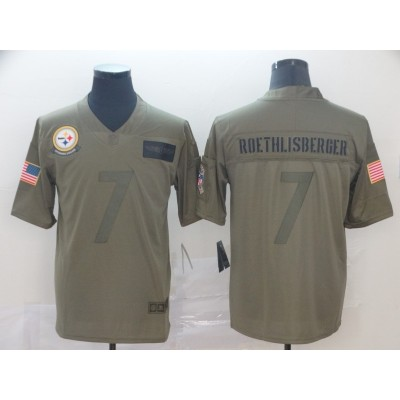 Nike Steelers 7 Ben Roethlisberger 2019 Olive Salute To Service Limited Men Jersey