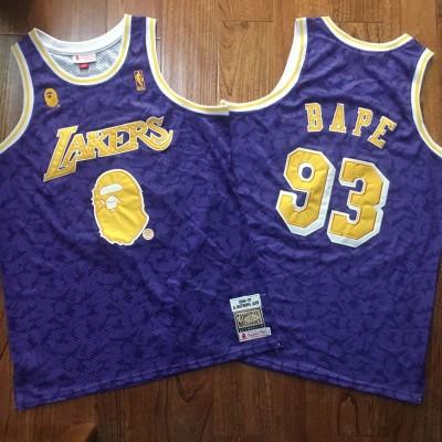 NBA Lakers 93 Bape Purple 1996-97 Hardwood Classics Men Jersey