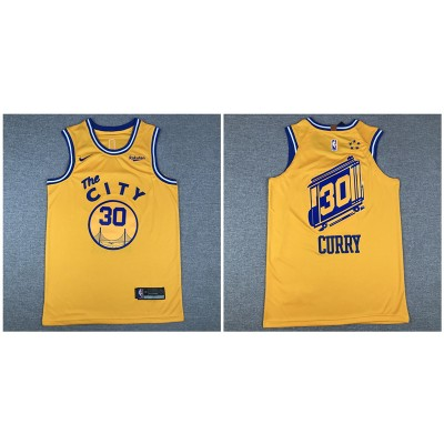 NBA Warriors 30 Stephen Curry Yellow City Edition Nike Men Jersey