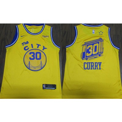 NBA Warriors 30 Stephen Curry Yellow City Edition Nike Swingman Men Jersey