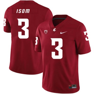 NCAA Washington State Cougars 3 Daniel Isom Red College Football Men Jersey